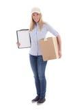 张贴拿着空白的剪贴板和小包的送货业务妇女我 库存照片