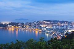 张Chau海岛夜视图在香港 库存图片