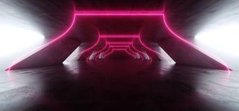 弧入口激光萤光减速火箭的科学幻想小说未来派霓虹发光的红色紫色网络光亮充满活力的光进入黑暗的空的阶段 皇族释放例证