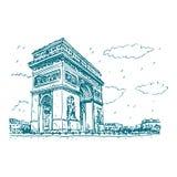 弧de法国巴黎triomphe 皇族释放例证