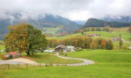 弯曲乡下公路在领域和树之间在一个美丽的秋天山坡 库存照片