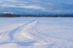 弯曲在早晨光的雪原与林木线 免版税库存图片