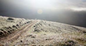 弯曲在秋天风景的路 免版税库存图片
