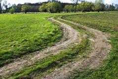 弯曲的乡下公路 图库摄影