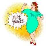 弯曲的动画片女孩 题字:女孩力量 可笑的画报,手 库存例证