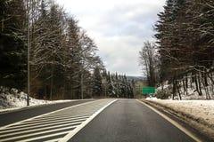 弯曲的双线道乡下公路绕通过树 免版税库存图片