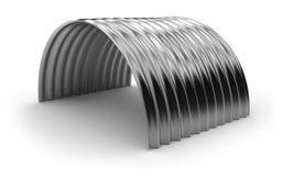 弯曲的波纹状的金属板 免版税库存图片