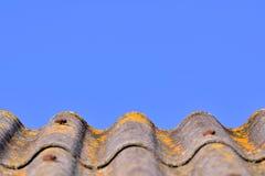 弯曲的灰色盖了与黄色青苔的屋顶反对清楚的蓝天 库存图片