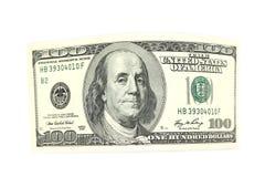 弯曲的票据一百美元 库存图片