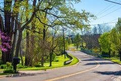 弯曲的郊区路 库存图片