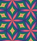 弯曲的金刚石的无缝的五颜六色的样式 几何抽象的背景 视觉容量作用 库存图片
