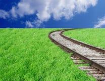 弯曲的铁路 库存图片