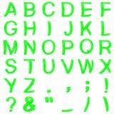 从弯曲的3D大写字母的绿色字体 免版税库存图片