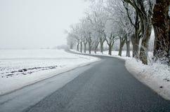 弯曲道路和雪 库存照片