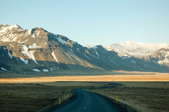 弯曲道路,种秣草地,山,晚上阳光,冰岛 免版税图库摄影