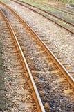 弯曲铁路轨道 免版税库存图片