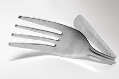 弯的叉子银 免版税库存图片