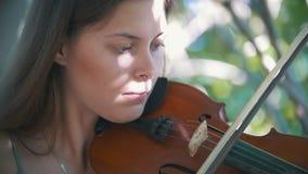 弹一把小提琴的女孩行家画象在公园夏日 影视素材