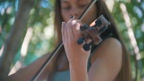 弹一把小提琴的女孩行家画象在公园夏日 股票录像
