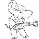 弹吉他的动画片大象 免版税库存图片