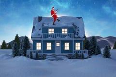 弹吉他的快乐的圣诞老人的综合图象 免版税库存照片