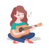 弹吉他的愉快的女孩和唱歌曲,隔绝在白色背景 皇族释放例证