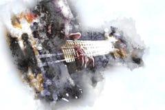 弹在水彩样式的人电低音吉他 免版税库存照片