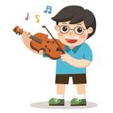 弹在白色背景的男孩小提琴 库存例证