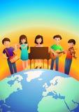 弹奏乐器的孩子 免版税库存照片