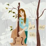 弹奏仪器的一个年轻,美丽的女孩 库存图片