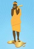 弹奏传统仪器的非洲女孩 免版税库存照片