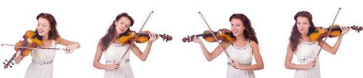 弹小提琴的妇女隔绝在白色背景 库存照片