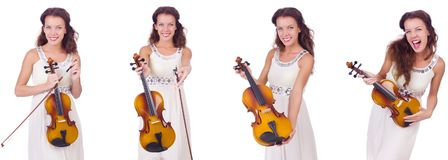 弹小提琴的妇女隔绝在白色背景 免版税库存图片