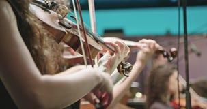 弹小提琴的音乐家在古典音乐排练期间在音乐会前 影视素材