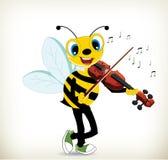 弹小提琴的动画片蜂 免版税库存照片