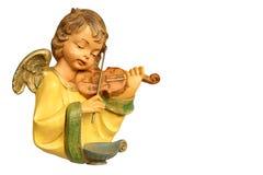 弹小提琴的天使雕象 免版税库存照片