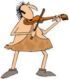 弹小提琴的穴居人 库存照片