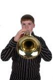 弹有选择性的喇叭的男孩重点 免版税库存图片