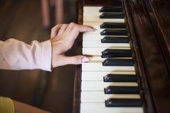 弹木钢琴的焦点一女性手 免版税图库摄影