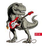 弹电吉他的恐龙 暴龙或T rex 也corel凹道例证向量 向量例证