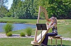 弹竖琴的少妇由池塘 免版税库存图片