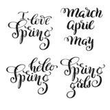 弹簧夹艺术-织地不很细手拉的字法我爱春天,你好春天,春天女孩和3月,4月,设计的5月 库存例证