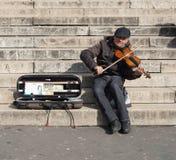 弹金钱的音乐家一把小提琴 免版税库存照片