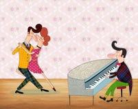弹钢琴的一个人 免版税图库摄影