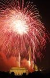 强光红色火箭 免版税图库摄影
