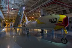 强悍的USS的内部,艾塞克斯班的航空母舰 免版税库存照片