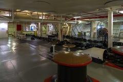 强悍的USS的内部,艾塞克斯班的航空母舰 库存照片