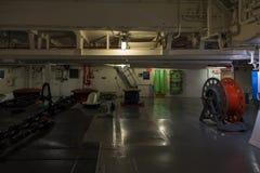 强悍的USS的内部,艾塞克斯班的航空母舰 库存图片