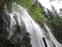 强有力的ÄŒeline-The,在黑湖的周期性瀑布 图库摄影