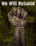 强有力的工人` s反抗手 免版税库存图片